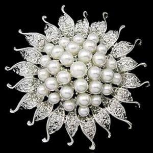 Jewelry - Bursting Sun Flower Pearls Brooch/Pin